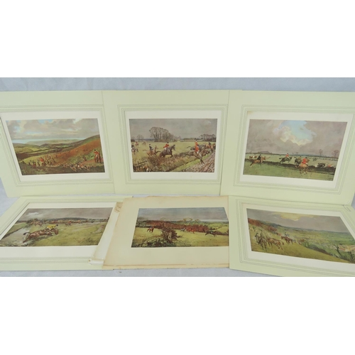 139 - Six Lionel Edwards prints of hunting scenes (sight size 21cm x 27cm) together with two others (a/f)....