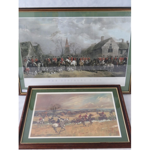 186 - A W.J. Davey engraving of ''The Pytchley Hunt - The Crick Meet'' (50cm x 73cm) also a colour print o...