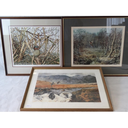 187 - Three limited edition prints by different artists: Derick Brown ''Highland Grouse'' signed lower rig...