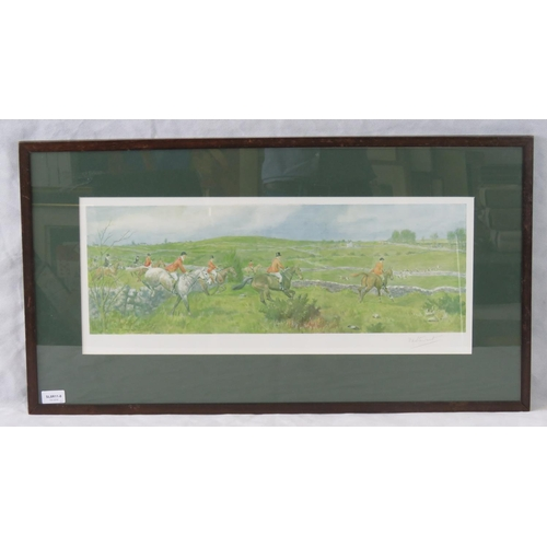 191 - F.A. Stewart Irish hunting scene print, signed lower right in pencil, sight size 25cm x 63cm....