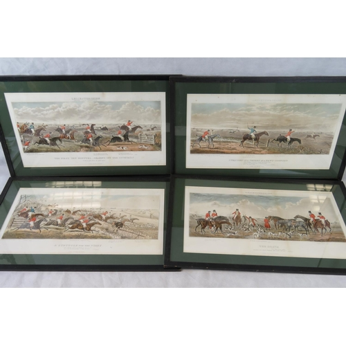 193 - Four John Dean Paul 19th century aquatints of Leicestershire hunt; sight size of each 33cm x 59cm....