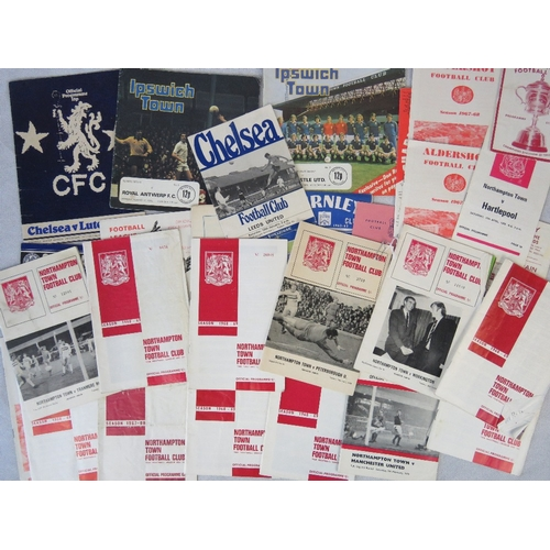 159 - Over 25 vintage and retro Football programmes with some Chelsea and Ipswich Town, mostly Northampton...