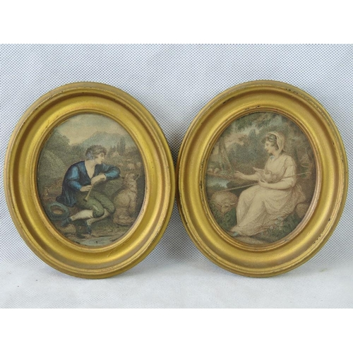 1083 - Two 19th century oval prints of ''Adelaide'' and ''Fonrose''; sight size 11.5 oval in modern gilt st...