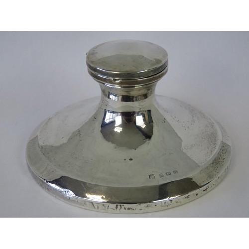 15 - A HM silver capstan inkwell (hinge a/f, liner deficient), wooden base, Birmingham 1921, maker John &...