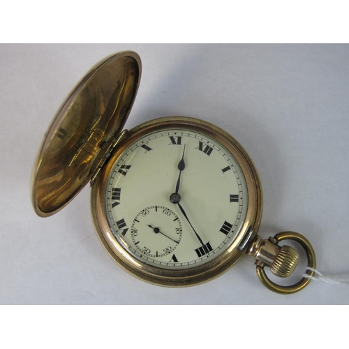 351 - An Empress American Watch Company 15 jewel Swiss movement, yellow metal cased pocket watch; slight a...