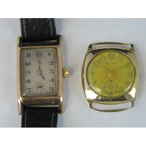 353 - A vintage ladies' Helvetica watch head with 9ct gold case together with another 9ct gold cased vinta...