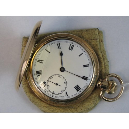 354 - A 10ct gold plated hunter pocket watch with case by Dennison Moon No 932334. White enamel dial with ...