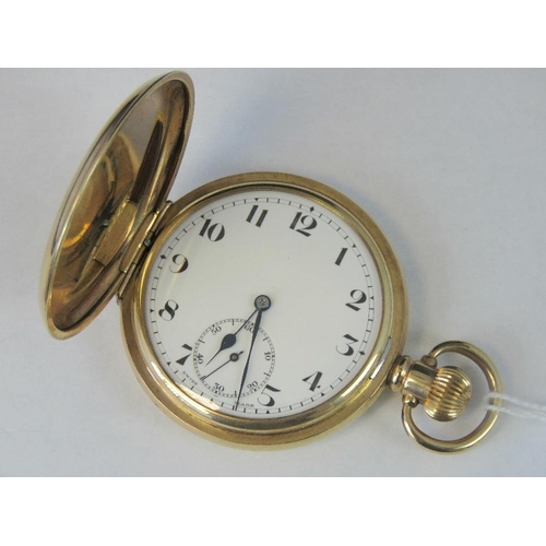 355 - A Swiss full hunter pocket watch in plated Dennison Star case, movement stamped USA PAT May 24 1904 ...