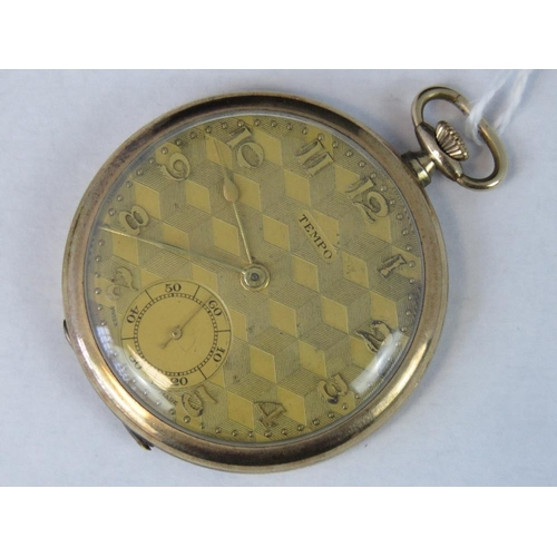 358 - A rolled gold Tempo open face pocket watch, gilded and engraved dial, yellow metal Arabic numerals, ...