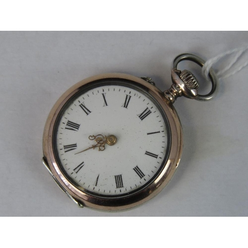 359 - A German silver and rose metal open face ladies fob watch, case stamped 800 with crescent and crown ...