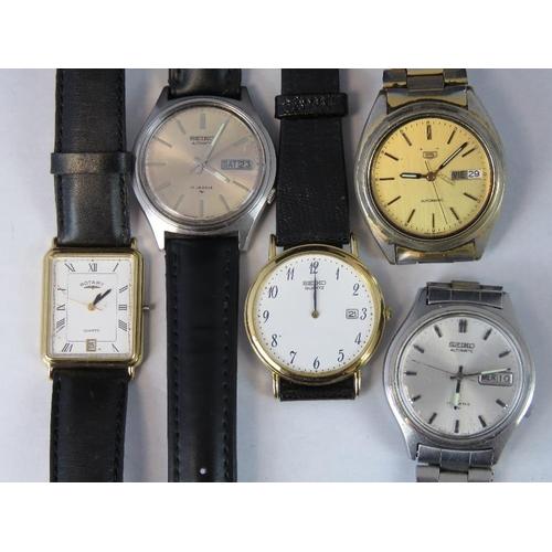 362 - Five watches; three Seiko Automatic, one Seiko 5 and a Rotary....