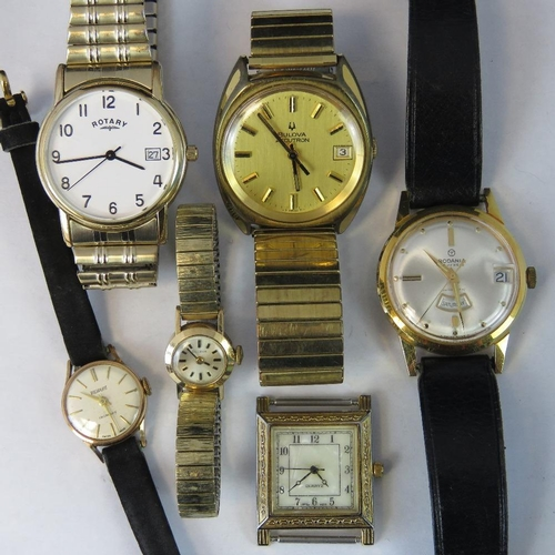 363 - Six assorted watches; ladies Bulova, ladies Pierpont, mens Bulova with paperwork, mens Rotary, mens ...