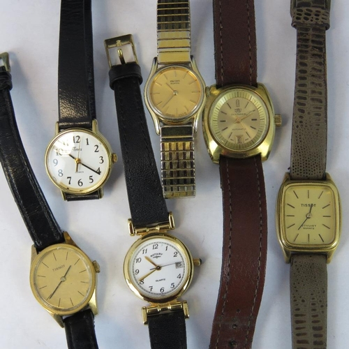 364 - Six ladies watches to include Seiko, two Tissot, Rotary, Farer Auto....