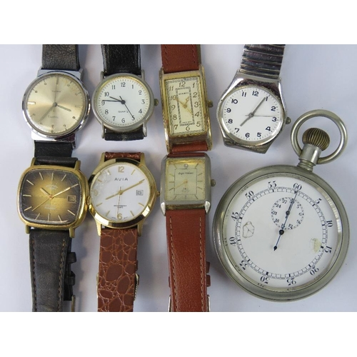367 - A collection of wristwatches: Rotary; Timex; Aramis together with a vintage stop watch; all a/f....