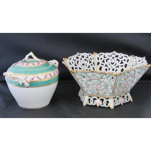 460 - A Dresden reticulated hexagonal bowl, 22cm, and a Victorian twin handles lidded pot, 15cm....
