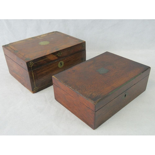 650 - A Victorian mahogany sewing box with brass inlay and another similar box, a/f....