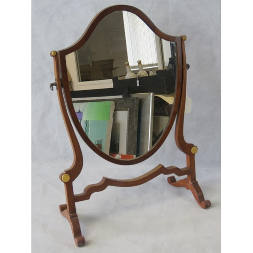 690 - A reproduction dressing table mirror with mahogany frame; 52.5cm high; a/f....