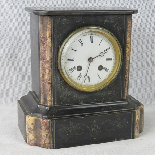 906 - A Victorian slate mantle clock with eight day movement, 22cm high, a/f....