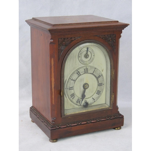 908 - A small mahogany cased mantle clock by H Williamson Ltd, 17cm high, a/f....