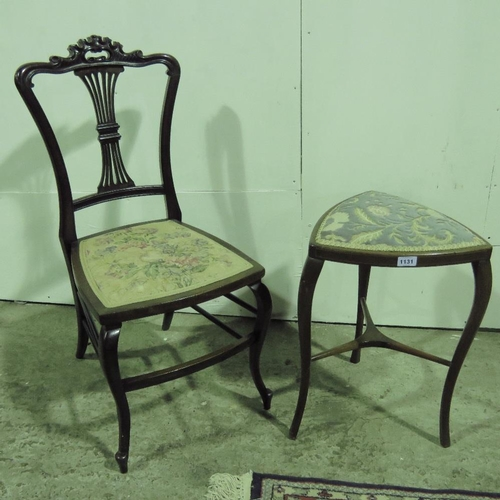 1131 - A lyre back chair with upholstered seat together with a tri form stool....