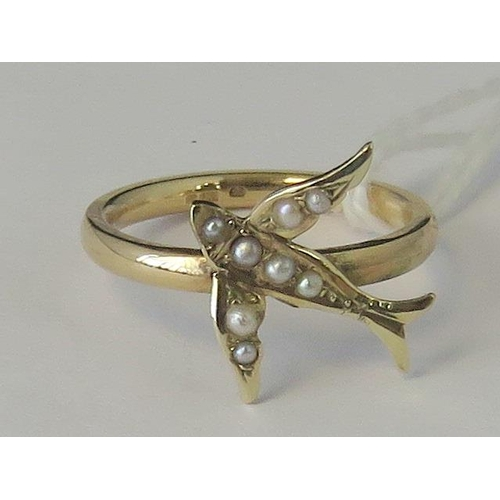 253 - A vintage swallow set with seed pearls on a new 9ct gold ring, hallmarked 375, size K - L, 2.52g...
