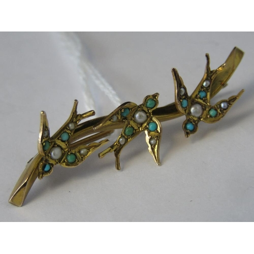 264 - A 9ct gold turquoise and seed pearl brooch depicting three swallows, hallmarked Chester 375, 4.6cm l...