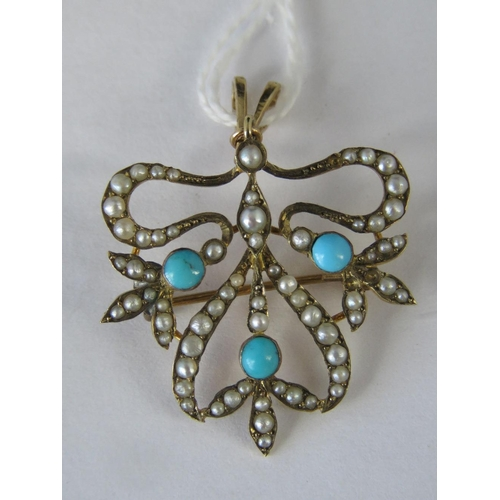 284 - A 9ct gold seed pearl and turquoise pendant/brooch, abstract design set with seed pearls (two defici...