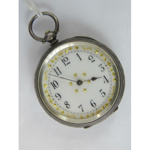 312 - A silver open face key wind pocket watch, case engraved with floral pattern and stamped 935 with Swi...