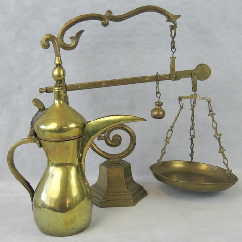 627 - An ornate brass set of scales stamped ''1605'' in Roman numerals together with a 20th century brass ...