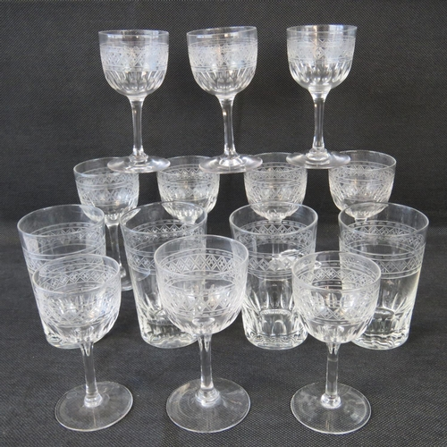 632 - Ten 20th century wine glasses and four tumblers....