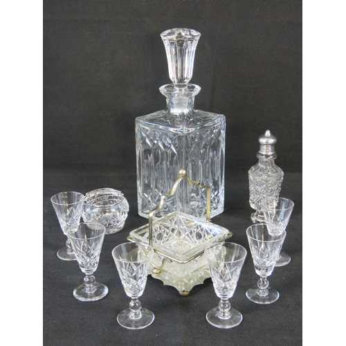 633 - A hallmarked silver topped condiment bottle; a decanter; bootleg Six ''Stuart'' liqueur glasses othe...