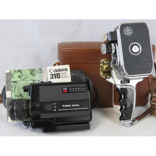 698 - A retro Bolex Paillard movie camera and a Canon 310XL Camera; both with original cases and associate...