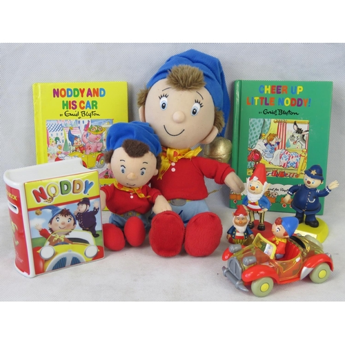 703 - A collection of six vintage Noddy Toys including noddy in his car, a Royal Worcester money box and t...