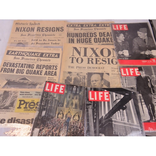 705 - Four Life magazines 1930s-1960 also San Francisco Chronicle ''Nixon resigns'' and four other newspap...