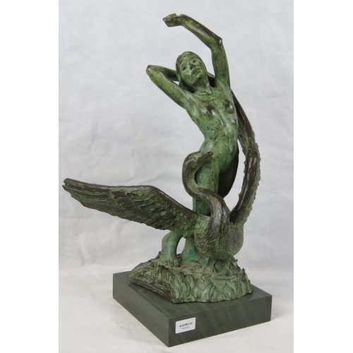 707 - Leicester Thomas, a plaster cast of a female nude with swan; signed ''Leicester Thomas '75'' with ma...