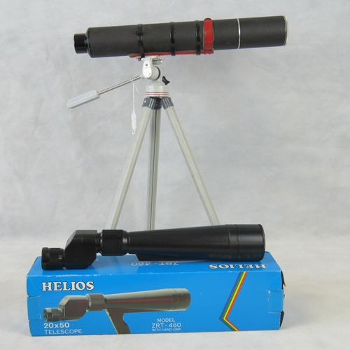 842 - A Helios model ZRT-460 telescope with original box together with unnamed retro telescope with a Bilo...