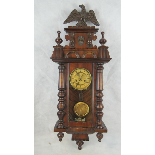 911 - A 19th century regulator clock with mahogany pine case and Roman numeral dial; overall height 95cm....