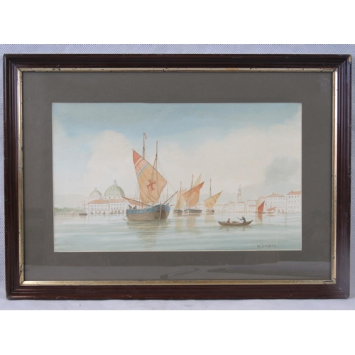 1085 - W Davison. Watercolour. Venice with sailing ships, signed , 50 x 36cm, sight size 22 x 36cm....