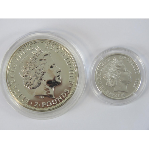 303 - A Queen Elizabeth II 2008 £2 piece in proof condition being fine silver, 0.9ozt, and a Westminster M...