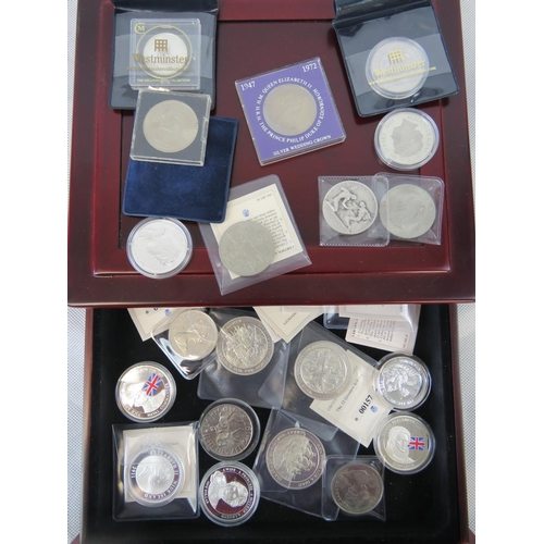 306 - Thirteen commemorative coins, curpo nickel various mints and dates, some face value. Also seven Brit...
