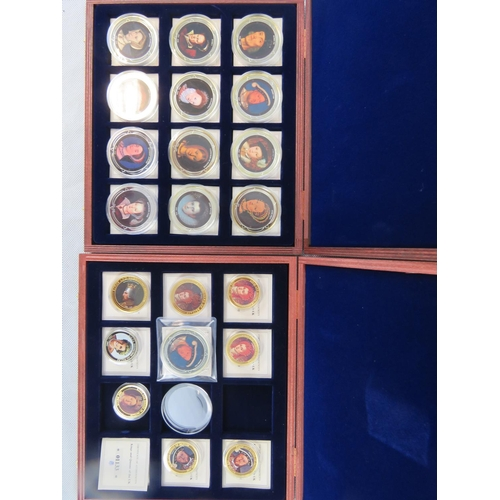 309 - Twelve House of Tudor 'coins' being silver plated and bearing an image of monarch to one side and to...