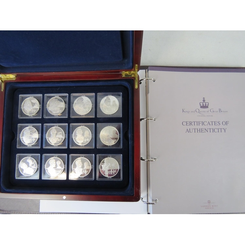 310 - Twenty-four monarchs of Great Britain 'coins' each hallmarked 999 on rim 0.92ozt. Each in a plastic ...