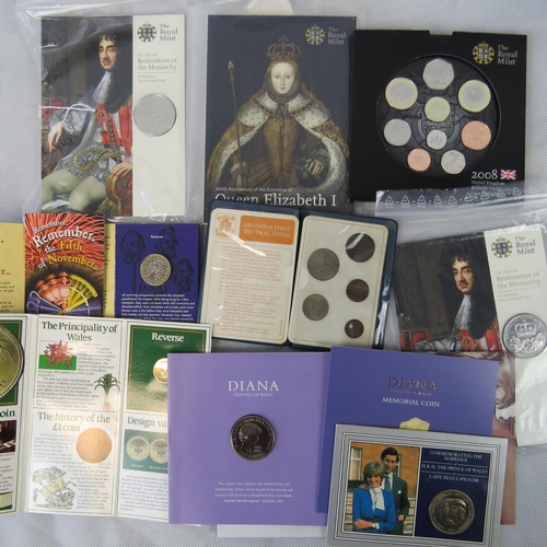 311 - Royal Mint £5 Charles I and £5 Diana Princess of Wales commemorative cupro nickel coin in display fo...