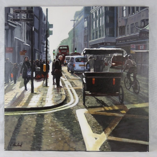 1024 - Chris Newbrooke, late 20th century, ''Oxford street'', acrylic on canvas, signed lower left; sight s...