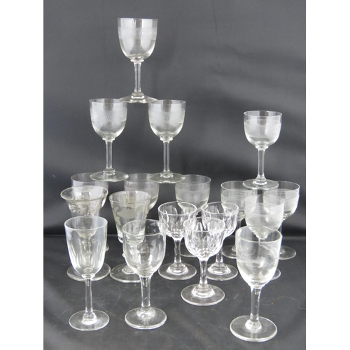 610 - Two 19th century hand blown liqueur glasses together with 16 others....