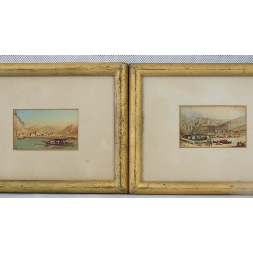 1084 - Two small watercolour landscapes of Southern European scenes; sight size 6cm x 9.5cm....