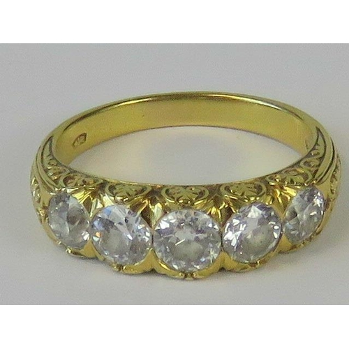 339 - A five stone graduated diamond ring, approx 1.25cts of diamond in total, set in yellow metal (Czech/...