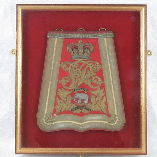 177 - An early 19th century 19th Light Dragoons officers sabretache featuring a crown over an elephant wit...