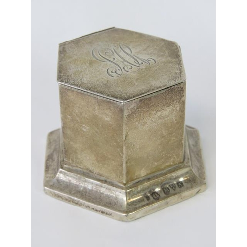 303 - A HM silver hexagonal column base style inkwell, filled base, hinge a/f, Chester 1913 made by John &...