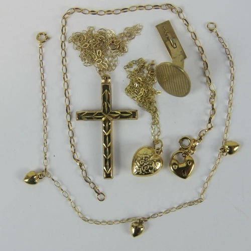 409 - A quantity of 9ct gold and yellow metal; a yellow metal cross on 9ct gold fine chain, a yellow metal...